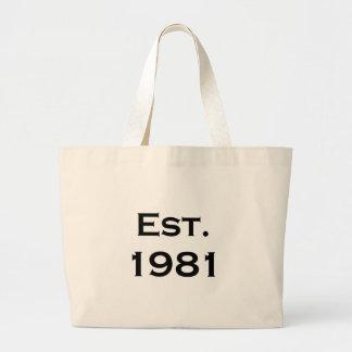 established 1981 jumbo tote bag
