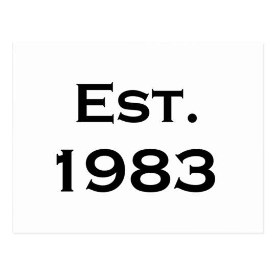 established 1983 postcard