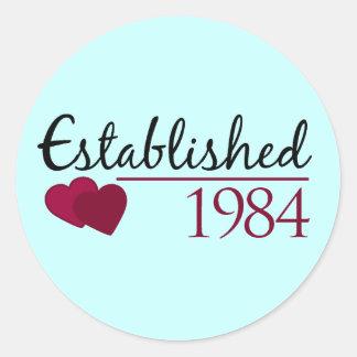 Established 1984 round stickers