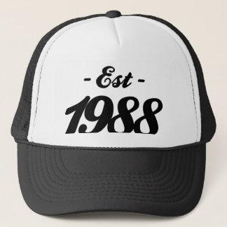 established 1988 - birthday trucker hat