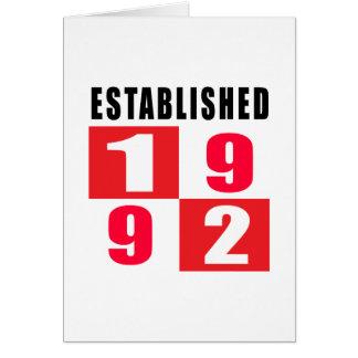 Established 1992 Birthday Designs Card