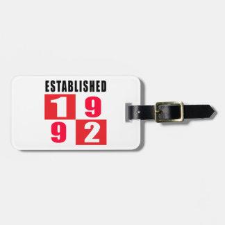 Established 1992 Birthday Designs Travel Bag Tags