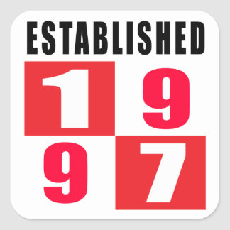 Established 1997 Birthday Designs Square Sticker