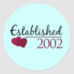 Established 2002 round sticker