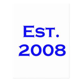 established 2008 postcard