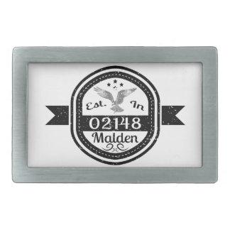Established In 02148 Malden Rectangular Belt Buckle