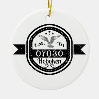 Established In 07030 Hoboken Ceramic Ornament
