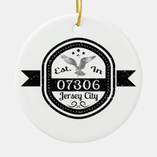 Established In 07306 Jersey City Ceramic Ornament