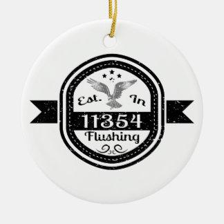 Established In 11354 Flushing Ceramic Ornament