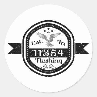 Established In 11354 Flushing Classic Round Sticker