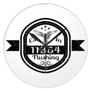 Established In 11354 Flushing Large Clock