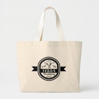 Established In 11354 Flushing Large Tote Bag