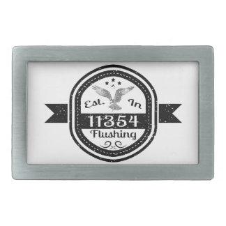 Established In 11354 Flushing Rectangular Belt Buckle