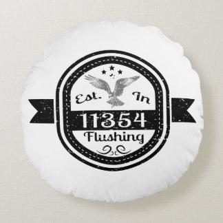 Established In 11354 Flushing Round Pillow