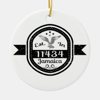 Established In 11434 Jamaica Ceramic Ornament