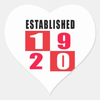 Established in 1920 heart sticker
