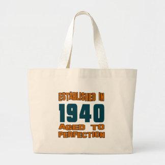 Established In 1940 Large Tote Bag