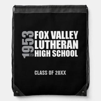 Established in 1953 - Black, White, and Grey Drawstring Bag