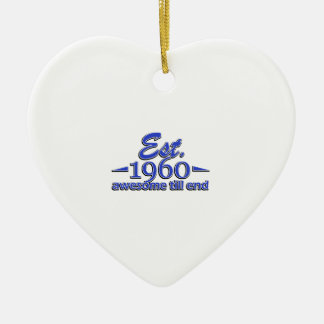 Established in 1960 Double-Sided heart ceramic christmas ornament