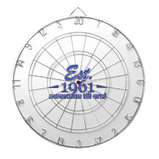 Established in 1961 dartboard with darts