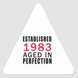 Established In 1983 Aged In Perfection Triangle Sticker