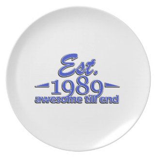 Established in 1989 birthday designs dinner plates