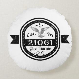 Established In 21061 Glen Burnie Round Pillow