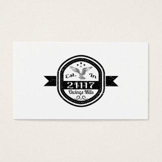 Established In 21117 Owings Mills Business Card