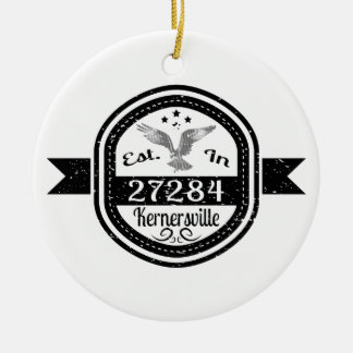 Established In 27284 Kernersville Ceramic Ornament