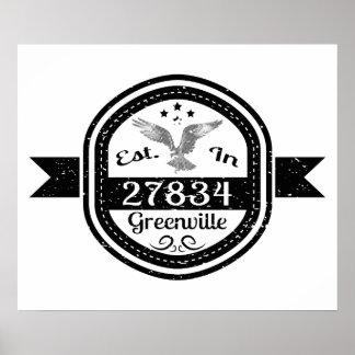 Established In 27834 Greenville Poster