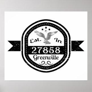Established In 27858 Greenville Poster