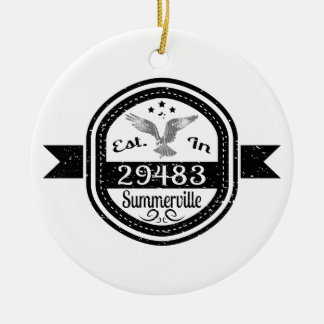 Established In 29483 Summerville Ceramic Ornament