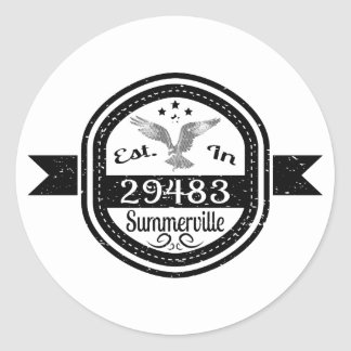 Established In 29483 Summerville Classic Round Sticker