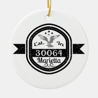 Established In 30064 Marietta Ceramic Ornament