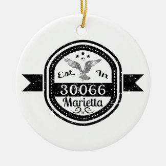 Established In 30066 Marietta Ceramic Ornament