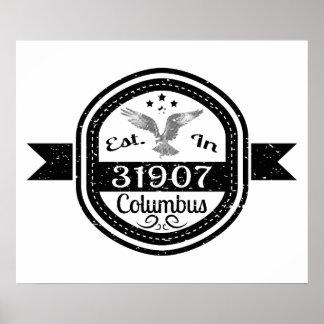 Established In 31907 Columbus Poster