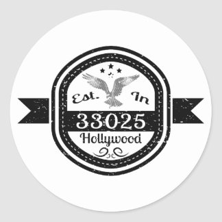 Established In 33025 Hollywood Classic Round Sticker