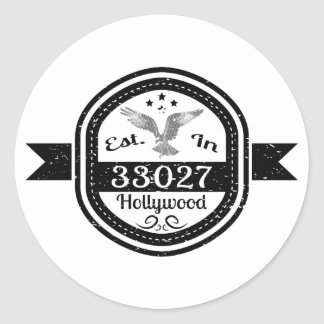 Established In 33027 Hollywood Classic Round Sticker
