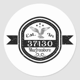 Established In 37130 Murfreesboro Classic Round Sticker