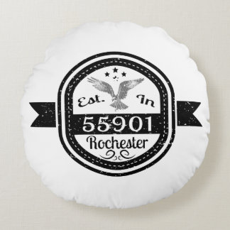 Established In 55901 Rochester Round Pillow