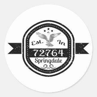 Established In 72764 Springdale Classic Round Sticker