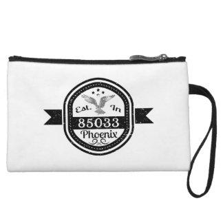 Established In 85033 Phoenix Wristlet Wallet