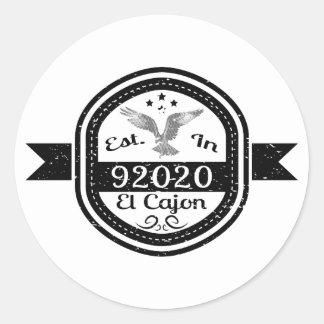 Established In 92020 El Cajon Classic Round Sticker