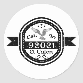 Established In 92021 El Cajon Classic Round Sticker