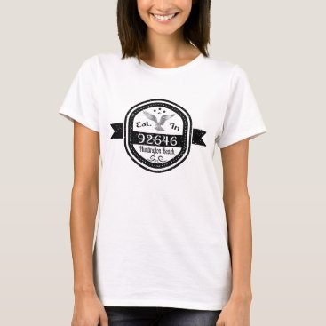 Beach Themed Established In 92646 Huntington Beach T-Shirt