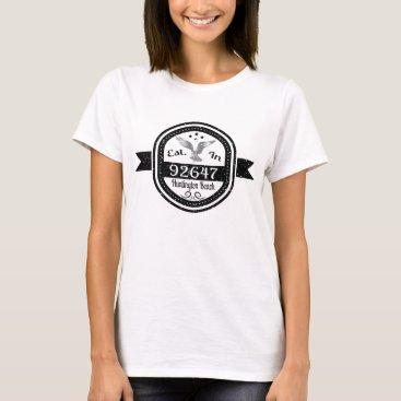 Beach Themed Established In 92647 Huntington Beach T-Shirt