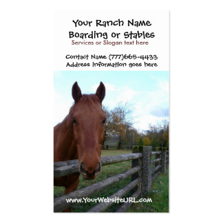 Establos del montar a caballo o servicios del emba tarjeta personal