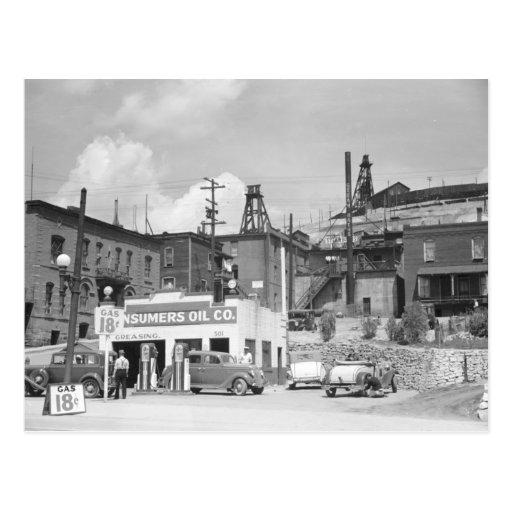 Estación barata del vintage del gas y coches tarjetas postales