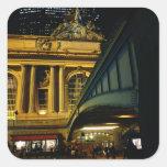 Estación central magnífica - noche - New York City Pegatinas Cuadradas Personalizadas