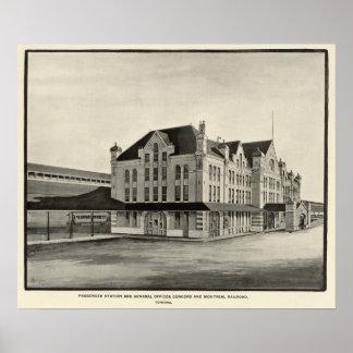 Estación, concordia y ferrocarril de Montreal, con Póster